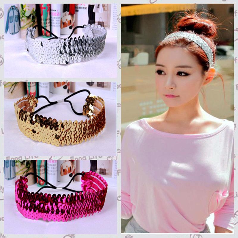 2016 Hot Women Shiny U Pic Sequin Beautiful HeadBand Bow Glitter Elastic Hairband Fashion Girl Hearwear Accessories(China (Mainland))