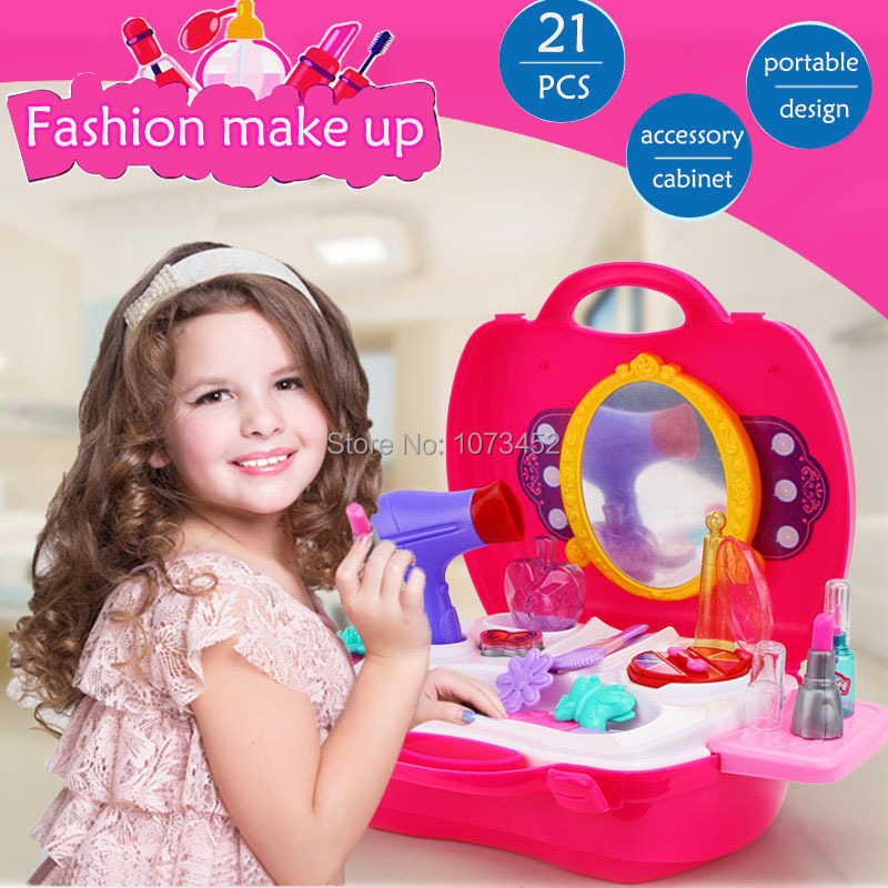 Accessory cabinet portable design dressing table toy brinquedo pretend play set dolls beauty toy for girls Include 21 pcs(China (Mainland))