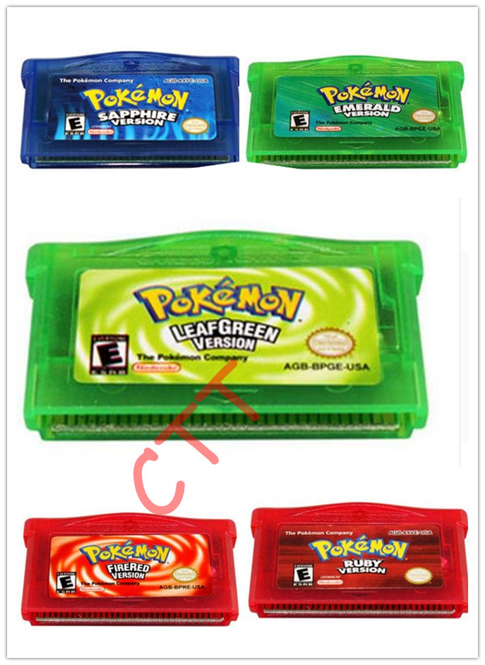 Hot Pokemon GO GBA SP NDSL Cartridge Game Card Firered Emerald Ruby LeafGreen CTT for children christmas gift(China (Mainland))