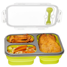 Compartment Food Container with Lid, Bento Lunch Box, Leak Proof, Microwave Safe, Silicone Collapsible Lunch Box()
