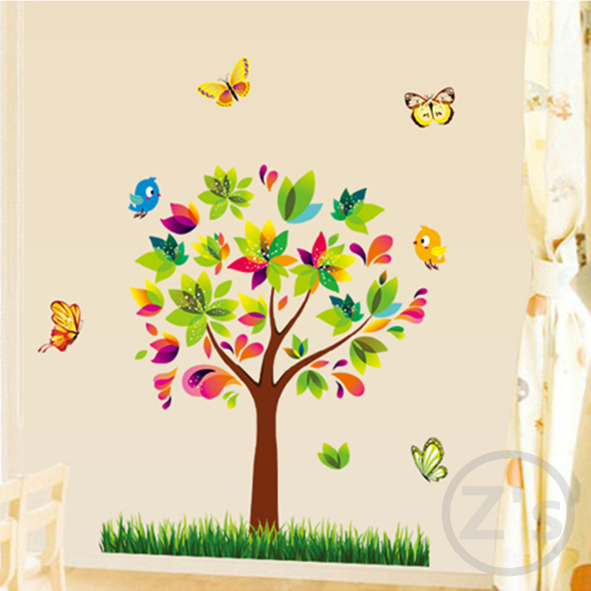 Trees wall sticker children home decor cartoon wall decal for Stickers de pared