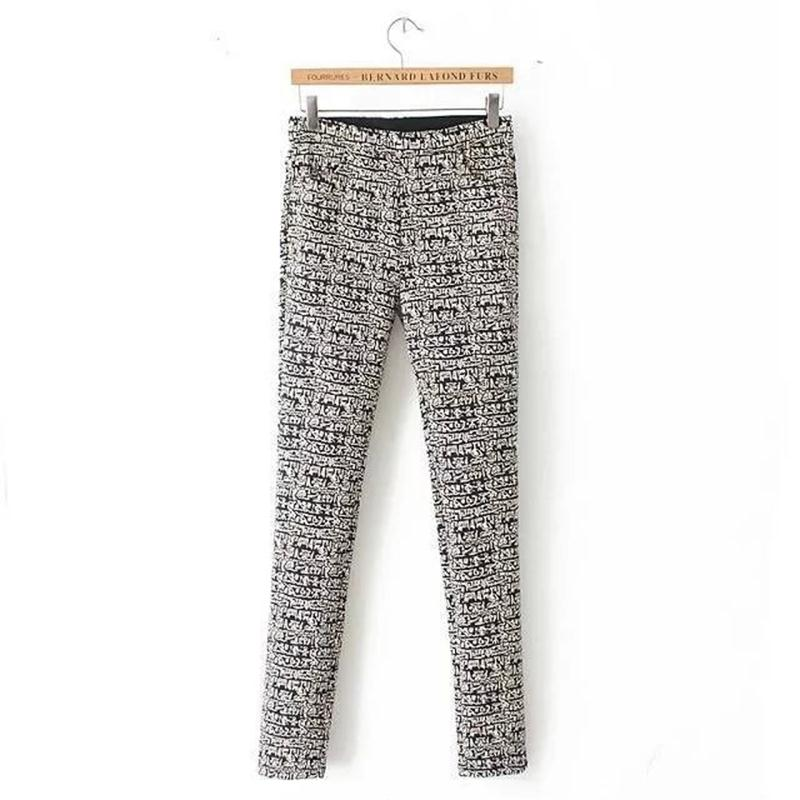 S-XXL vintage geometry print comfort Elastic waist fleece long Pants Winter large size casual thicken women pencil Pants #Q739(China (Mainland))
