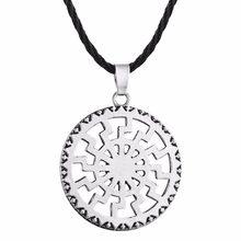 Cxwind Retro słowiański talizman urok Symbol naszyjnik geometryczne okrągłe Kolovrat wisiorek Viking mężczyźni biżuteria trójkąt joga naszyjniki(China)