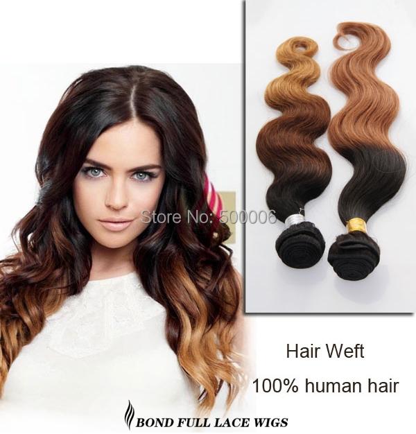 NewArrival ombre 3tone color 1B#/4#/27# body wave virgin Brazilian hair weaving 4pcs free shipping Brazilian hair weft extension<br>