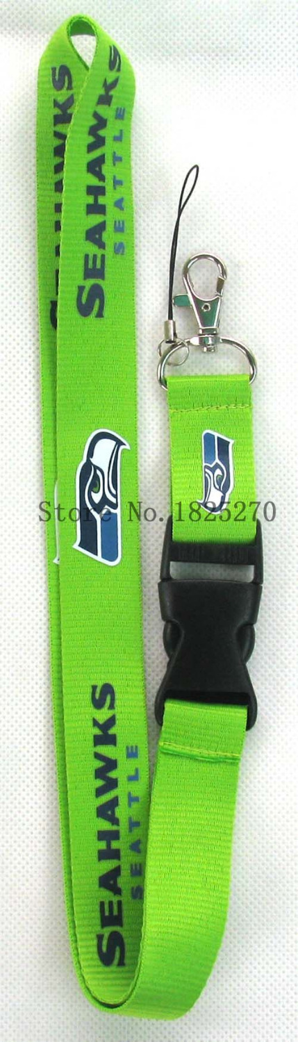 lot Wholesale 10 pcs green Seattle Seahawks Designs Lanyard Key Chain Badge Holder Keys Neck Straps Free Shipping(China (Mainland))