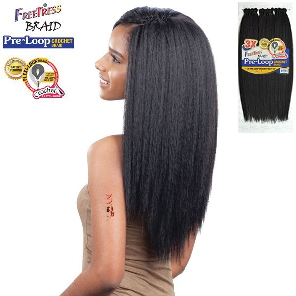 Heat Resistant crochet braids Hair Yaki Style kinky straight 18″Premium Hair classic human feeling yaki straight freetress hair