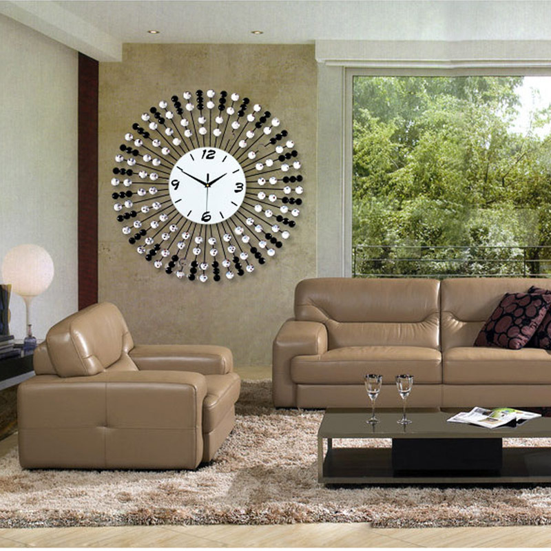 24 inches modern luxury iron wall clock diamond creative for Living room wall clocks