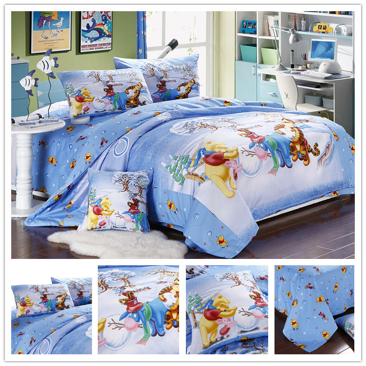 Cartoon Winnie The Pooh Full Queen King Size 4pcs Bedding