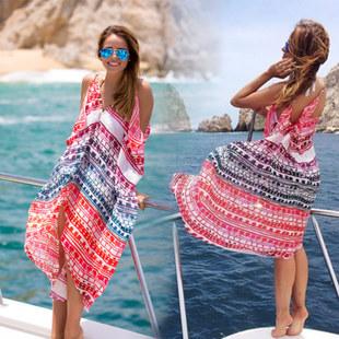 2015 New Women Swim Suit Cover ups Chiffon Patchwork Beach Dress Ladies Bikini Swimsuit Cover(China (Mainland))