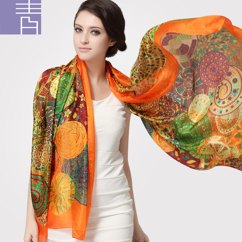Ultralarge Spring Autumn Silk Scarf Wraps Hot Sale Female Long Scarf Cape Fashion New Design Orange Mulberry Silk Scarf Muffler(China (Mainland))