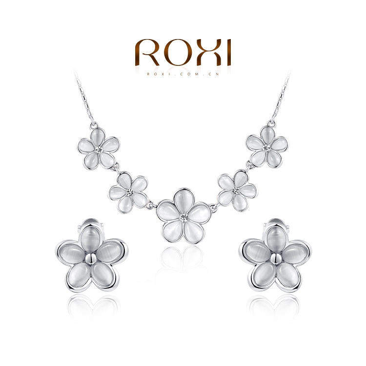 2014 ROXI top sell opal flower crystal jewelry set necklace earrings women rose gold white plated - international trading LTD ( and retail store)