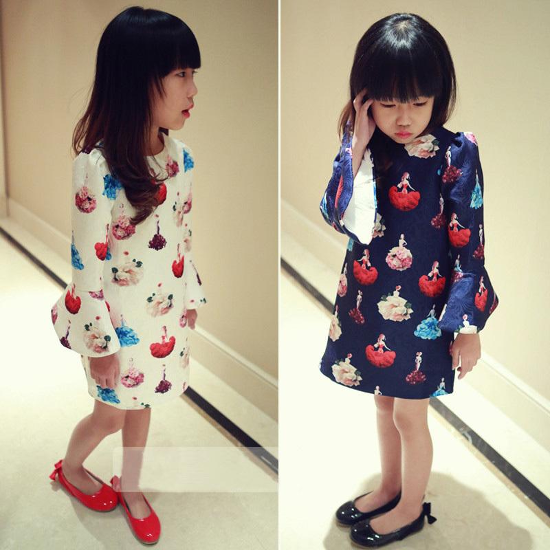 4-12 Age Girls Clothes Autumn Princess Dresses for Teens Vestidos Kids Printed Long Sleeve Children's Dress New Fashin Jurken(China (Mainland))