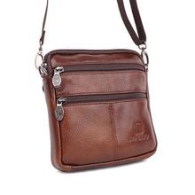 Vintage Famous Brand 100% Guarantee Real Cowskin men shoulder crossbody bags Fashion Double zipper design men messenger bags