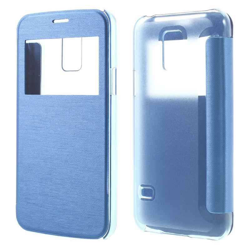 Phone leather cover For Samsung S5 MINI Window View Leather Flip Cover Plastic Case for Samsung Galaxy S5 mini G800 RHTX 028(China (Mainland))