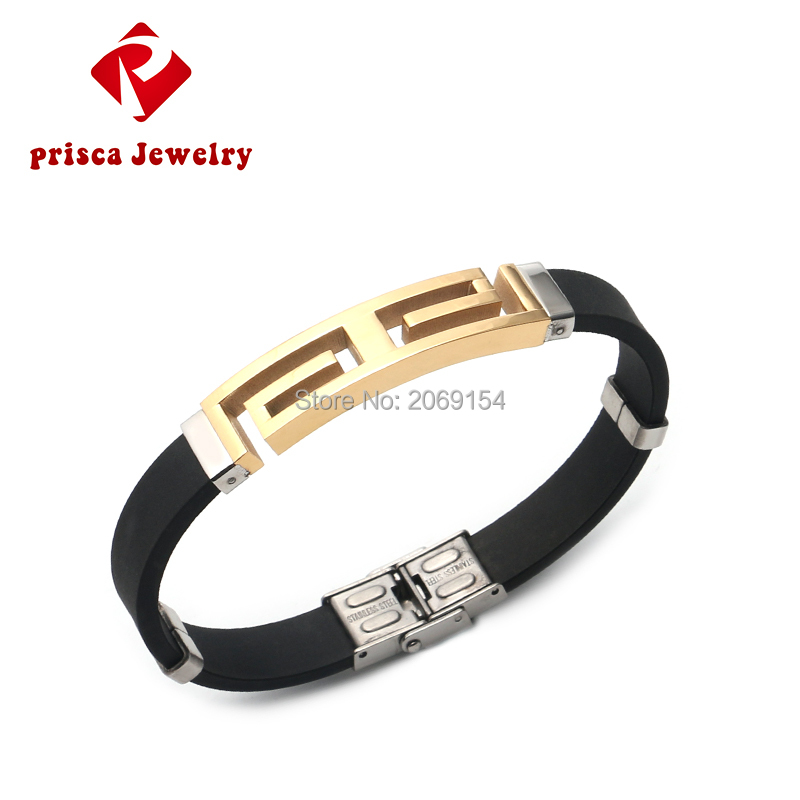 Bracelet Men Gold Jewelry Charm Bangle 2016 Stainless Silicone Wristband Fashion Men Jewelry Steel Bangle Rubber Link Chain(China (Mainland))