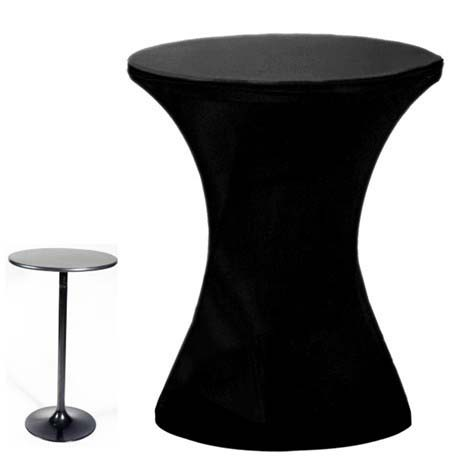 Free Shipping 10pcs 60*110cm Black Round Based High Spandex Cocktail Table Covers Lycra Stretch Bar Bistro Table Covers(China (Mainland))