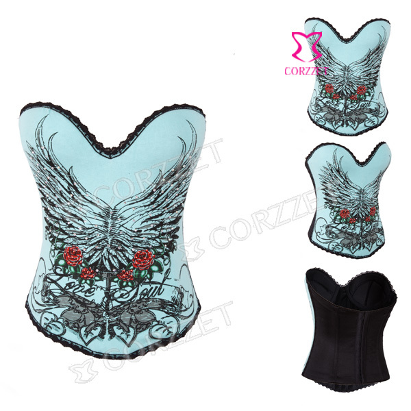 Sexy Wings Pattern Green Bustier Top Hook And Eye Overbust Push Up Cotton Corsets And Bustiers Women Corpetes E Espartilhos 2014(China (Mainland))