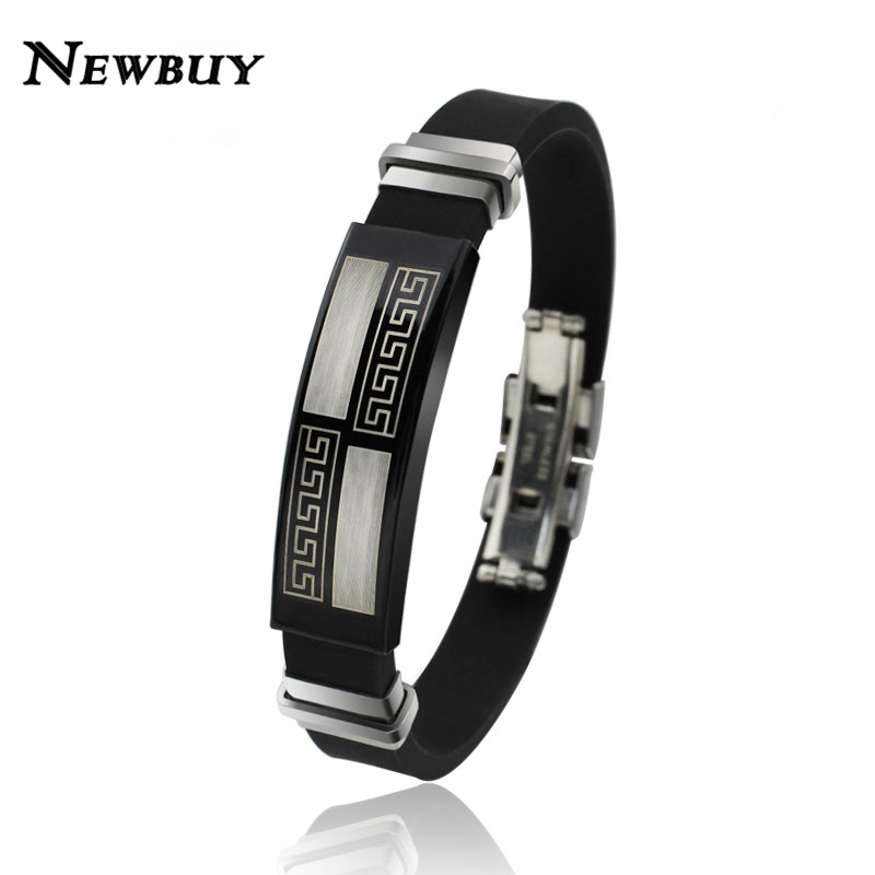 NEWBUY Brand Fashion Stainless Steel Silicone Men Bracelet Fine Jewelry Black Customized Wristband Fashion Accessories(China (Mainland))