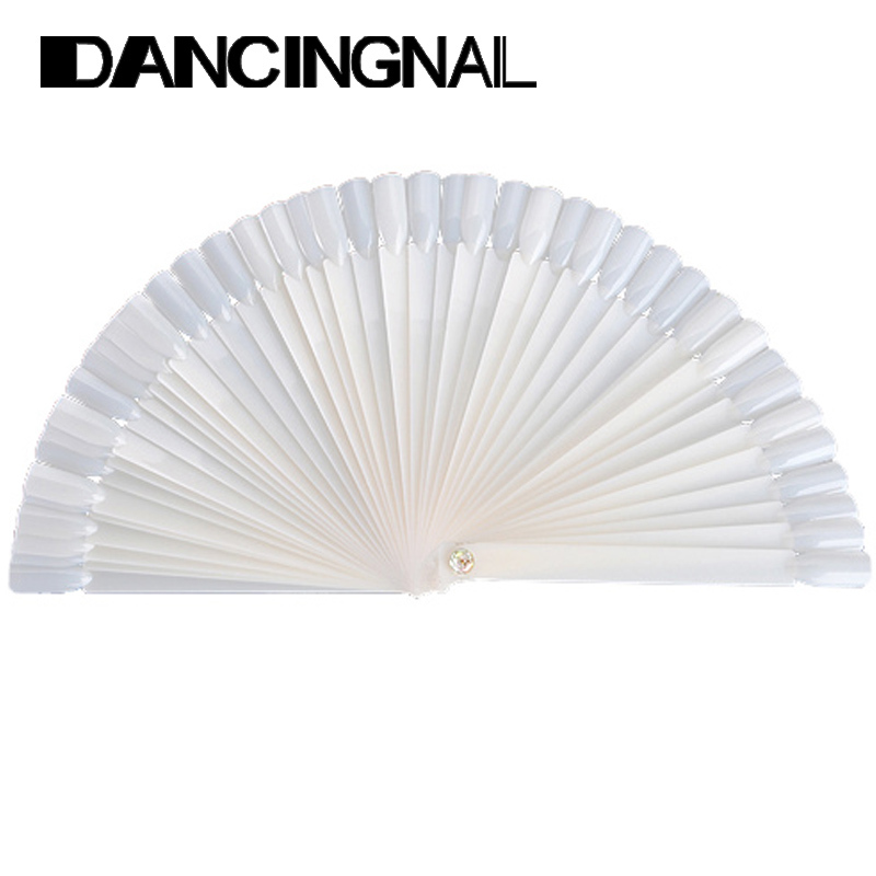 Free Shipping 50PCS Ivory White Plastic Flase Nail Art Tips Stick Display Practice Fan Board tool(China (Mainland))