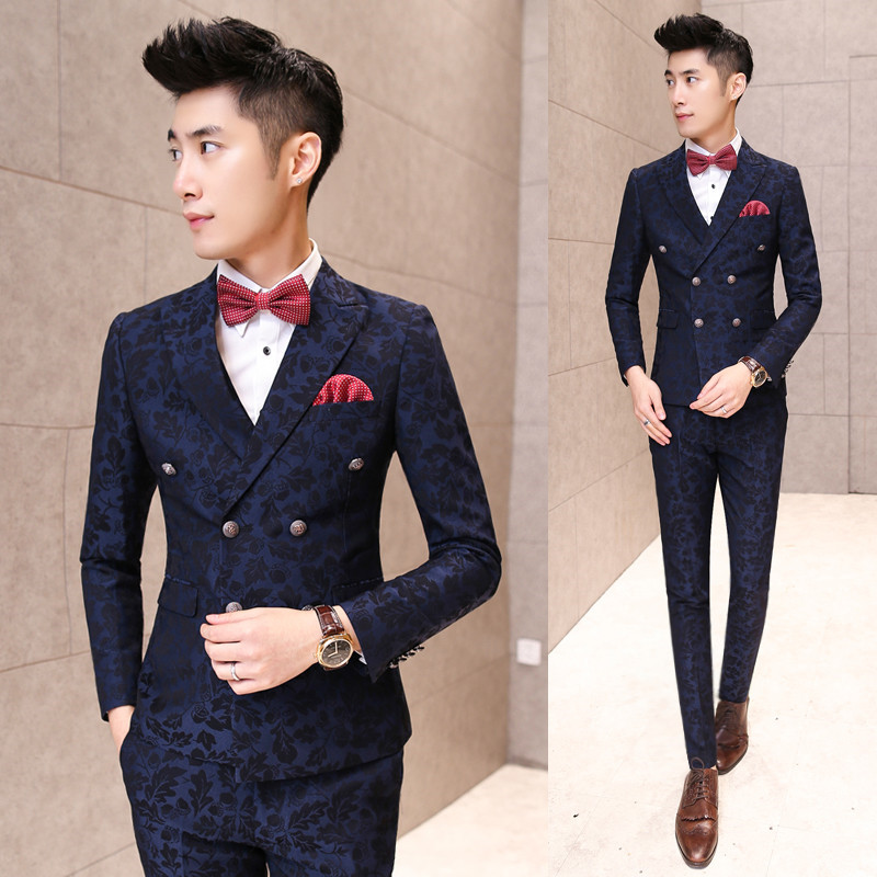 New Mens Retro Double Breasted Leaf Patterned Slim Fit Party Dinner Suit Jacket Vest Waistcoat PantsОдежда и ак�е��уары<br><br><br>Aliexpress