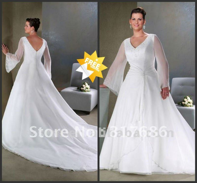 Long Sleeve Plus Size Wedding Dress. Plus Size Sheer Garden V Neck ...