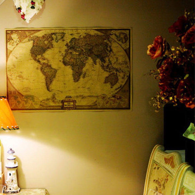 DCTOP World Map Vintage Poster Retro Paper Kraft Wallpaper Home Decoration Map Of The World Wall Sticker(China (Mainland))