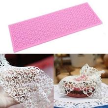 Large Rectangle Silicone Cake Fondant Mould DIY Mat Flower Lace Mold Sugar Craft Baking Decorating Tools(China (Mainland))
