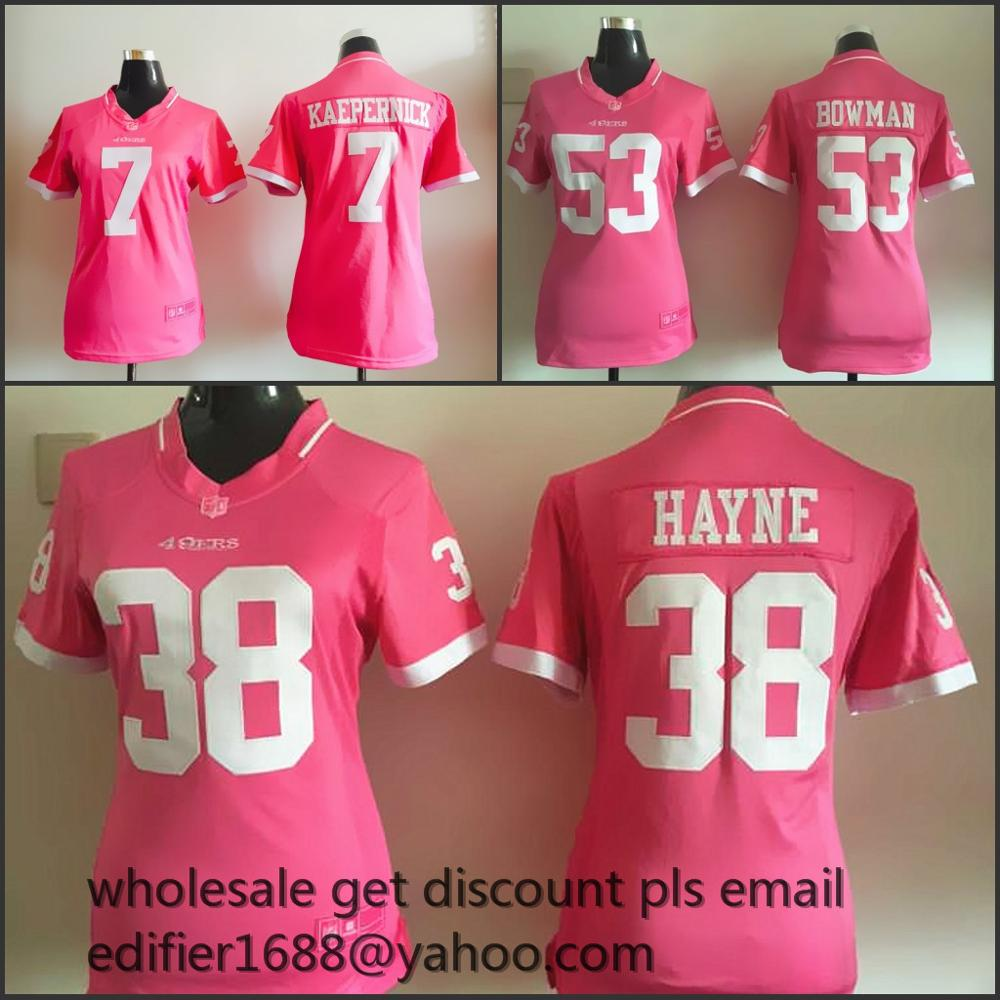 100% stitched women PINK love San Francisco 49ers ladies 53 NaVorro Bowman 38 Jarryd Hayne 7 Colin Kaepernick 52 Patrick Willis(China (Mainland))