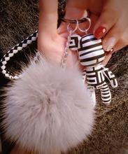 Buy Luxury Fluffy Real Fox Fur Ball Bomgom Leather Strap Popobe Gloomy Teddy Bear Cute Keychain Genuine Fur Key Chain K012 for $6.99 in AliExpress store