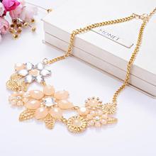 wholesale Fashion Pink Flower Necklace Elegant Women Gold Collier Jewelry Choker Bib Statement Collar Chain Pendant
