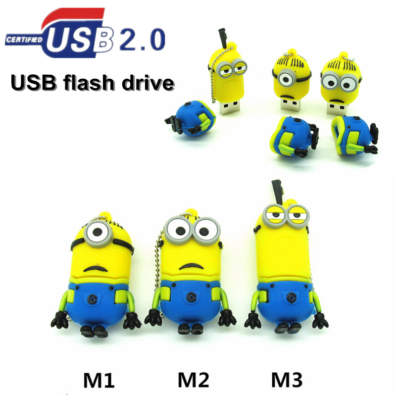 Cute cartoon despicable me2 minions usb flash drive pen drive 4gb 8gb 16gb 32gb pendrive usb stick memory stick Real capacity(China (Mainland))