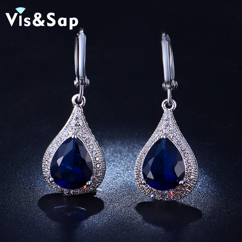 White Gold Plated earrings AAA CZ diamond sapphire jewelry Wedding engagement earrings for women fashion jewelry bijoux VSE020(China (Mainland))