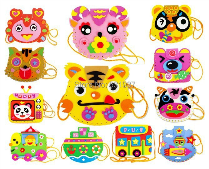 EVA cartoon bags EVA children handmade kindergarten toy DIY Material 3D Puzzle Stickers toys for children kids Puzzles toy(China (Mainland))