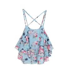 Sexy Crop Tank Top Print Chiffon Sleeveless Women Camis Cropped Ladies Spaghetti Strap Flower Floral Blouse 2016 Fashion Summer(China (Mainland))
