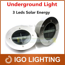 Bright 3LED Outdoor Solar Ground Lamp New LED Garden lawn light Ss steel + Tempered glass Solar Powered Led Underground Lights(China (Mainland))