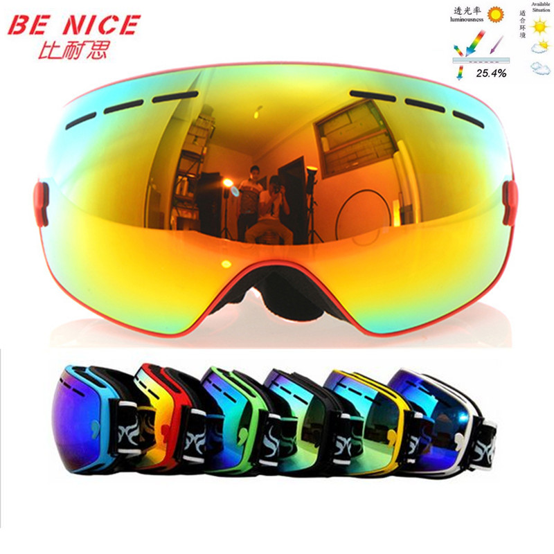Benice snowboard goggles brand professional double anti fog big spherical lens Windproof motocross ski glasses classic eyewear(China (Mainland))