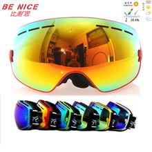 Benice occhiali da snowboard di marca professionale doppia antiappannamento grande lente sferica Antivento motocross occhiali da sci occhiali classica(China (Mainland))