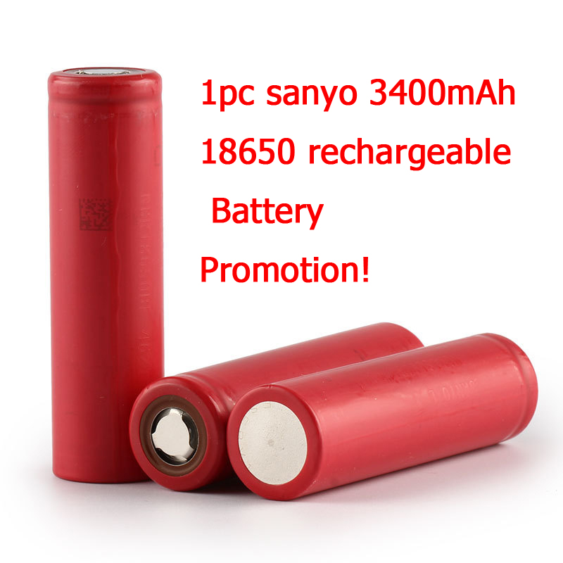 1pc New Sanyo original 18650 Li-ion Lithium battery 3400mAh NCR18650BF 3.7V Rechargeable battery For powerbank  free shipping<br><br>Aliexpress