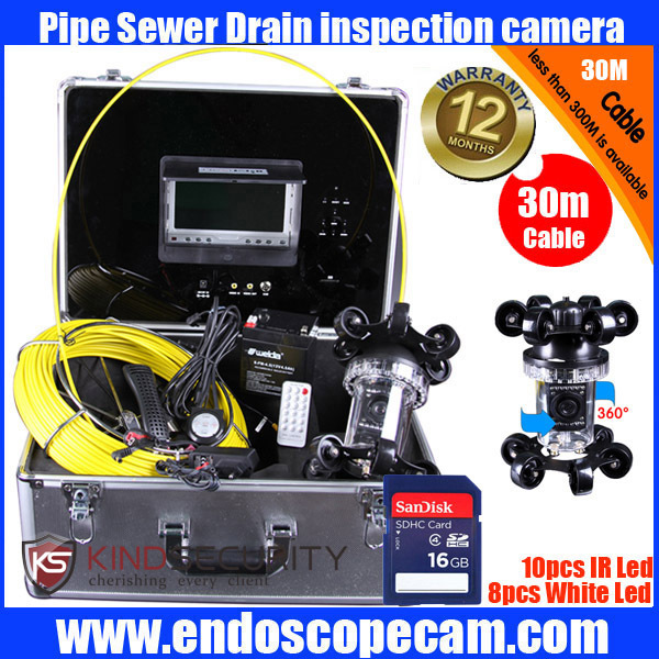 30m fiber glass cable 360 degree Sewer Pipe Inspection Camera with DVR CR110-7E <br><br>Aliexpress