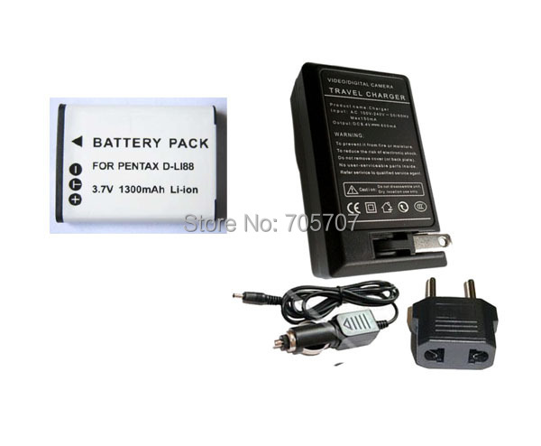 4 piece D-Li88 DLi88 DB-L80 Rechargeable Battery charger camera Optio WS80 P80 W90 P70 H90 - POP ENERGY (China store Co., Ltd)