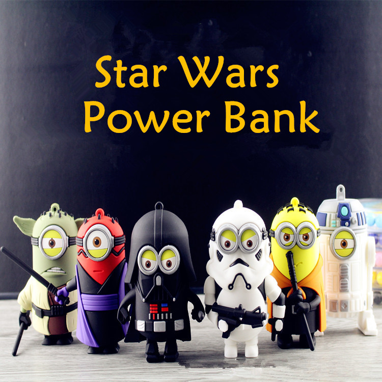 Minions Cos Star Wars Darth Vader Stormtrooper power bank emergency Battery external Mobile PowerBank For Apple Samsung(China (Mainland))
