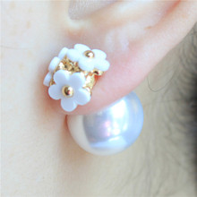 2015 new hot design fashion brand jewelry Flowers stud earrings double Imitation pearls style Statement earring for women(China (Mainland))