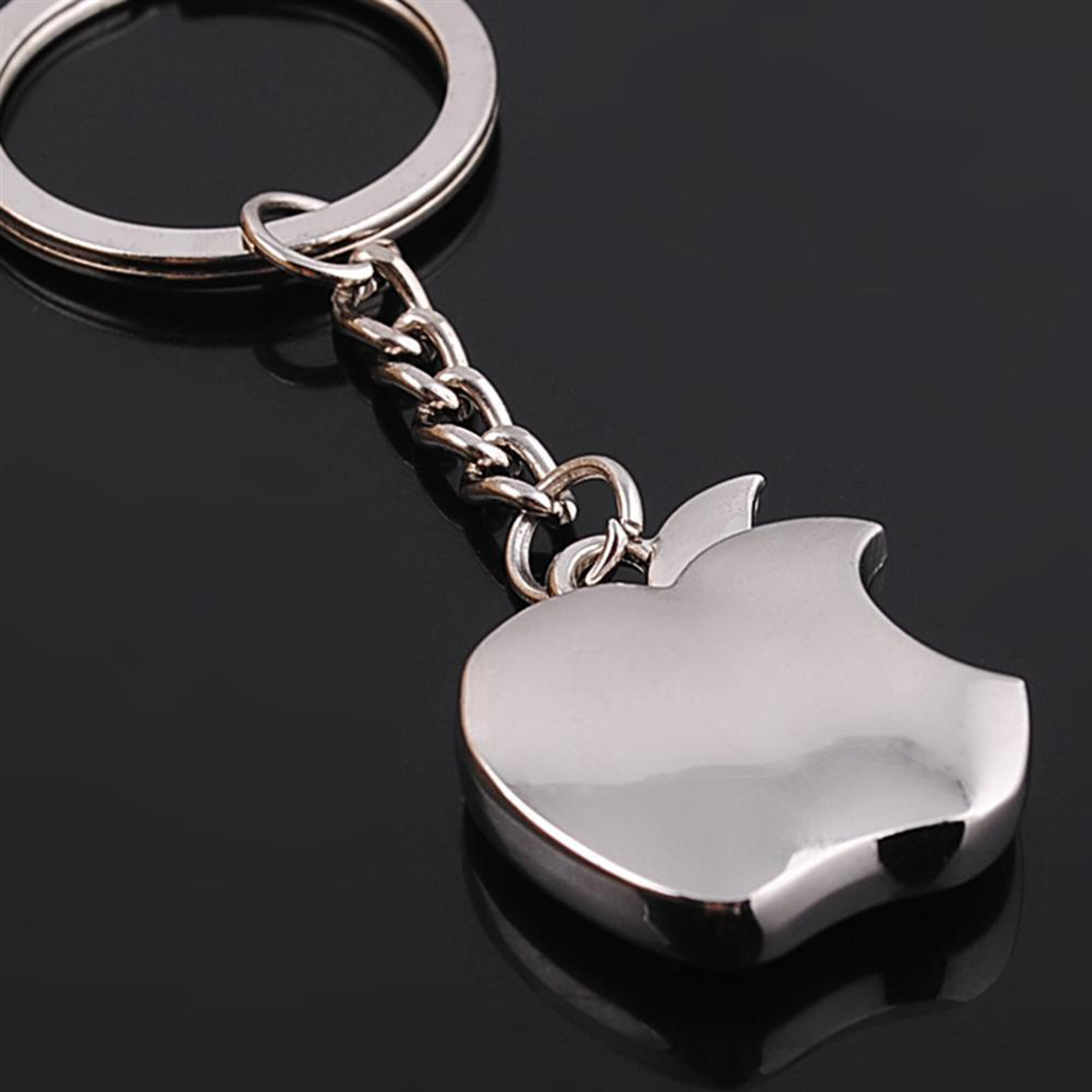 2016 new arrival silver mini apple keychain top quality
