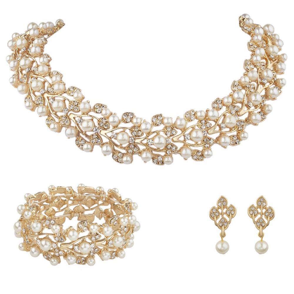 BELLA Leaf Wedding Necklace Earrings Bracelet Jewelry Set Faux Ivory Pearl Austrian Crystal Bridal Jewelry Set For Bridesmaid
