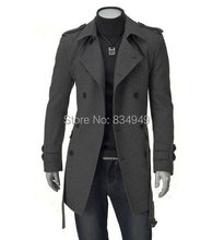 CUSTOM MADE TAILORED MENS TRENCH COAT,2014 FASHION SLIM FIT LONG COAT CASHMERE WOOL LONG JACKET, WINTER COATS FOR MEN(China (Mainland))