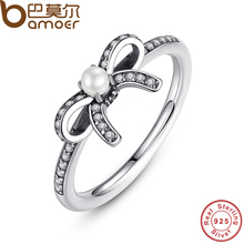 BAMOER 925 Sterling Silver Delicate Sentiments Finger Ring with White Pearl & Clear CZ Original Fine Jewelry PA7160(China (Mainland))
