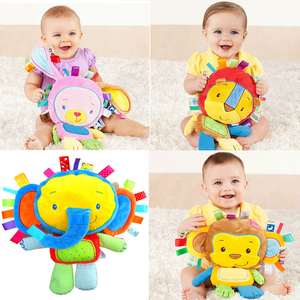 Infant Soft Appease Playmate Calm Doll Baby Toy with BB Ring Rattle Animal Monkey/Elephant/Lion/Rabbit/Pig/Sheep/Chick Plush Toy(China (Mainland))