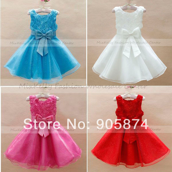 Red Rose Blue Baby Dress Princess Flower Girls Clothes Girl Party Bridesmaid Wedding Pageant - MixKelly Children Center store