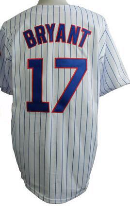 17 kris bryant Jersey baseball jerseys sport White Stripe Grey Blue Top Quality(China (Mainland))