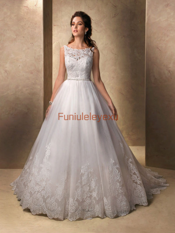 Wedding Dresses Size 6 : Sweep train bridal gowns white ivory lace wedding dress size